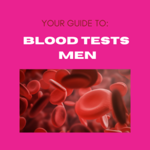 Pink background with image of blood cells and text your guide to blood tests men