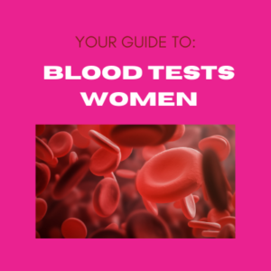 Pink background with image of blood cells and text your guide to blood tests women