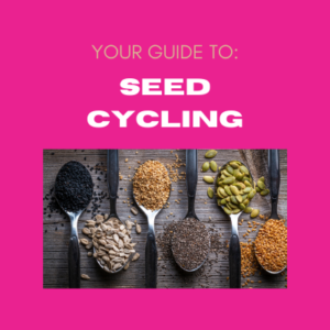 Pink background with image of blood cells and text your guide to seed cycling